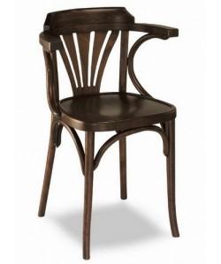 Silla de madera de haya, brazos, Rf. 315305, asiento madera barnizada.