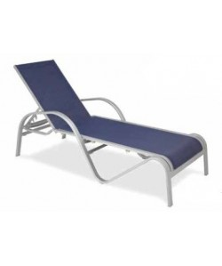 Tumbona Rf. 3158045, armazón de aluminio, tejido textiline blanco o azul
