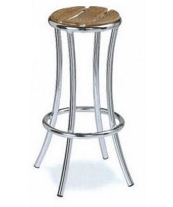 Taburete 3155705, armazón aluminio, asiento en madera.