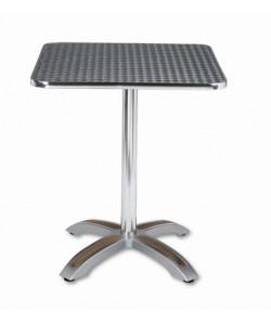 Mesa de aluminio, Rf. 3154045, pie teka, tapa inoxidable 60x60 cms.