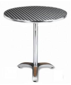Mesa de aluminio, Rf. 3154035, pie teka, tapa inoxidable 60 cms. diámetro