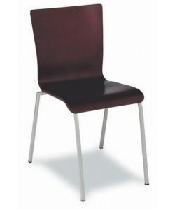 Silla multiusos Rf. 3151465, tubo acerado, asiento y respaldo madera a elegir.