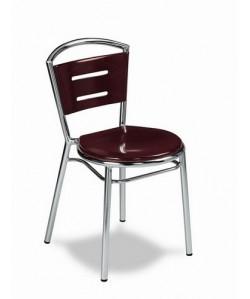Silla de hostelería Rf. 3151565, aluminio, asiento y respaldo  de madera barnizada