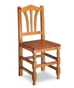 Silla de madera de pino Rf. 315125, asiento madera barnizada