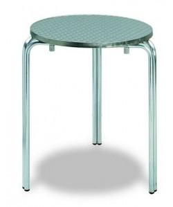 Mesa de aluminio, Rf. 3153815, doble tubo, tapa inox. 80 cms diam.