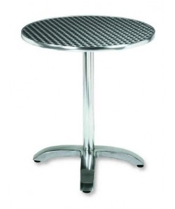 Mesa de aluminio, Rf. 3154005, inoxidable repulsada 60 cms. diámetro