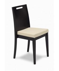 Silla 315365, asiento tapizado, respaldo madera de haya barnizada
