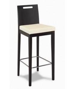 Taburete 315285, asiento tapizado,respaldo barnizada nogal o wengue.