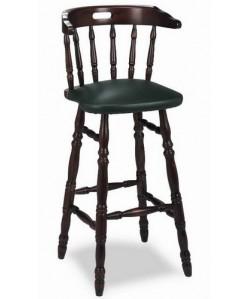 Taburete Rf. 315225, madera de haya, asiento tapizado, barnizado.