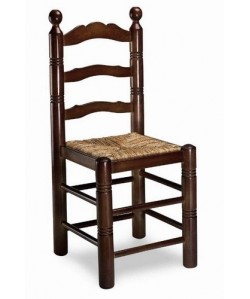 Silla de madera de pino Rf. 315145, asiento enea, barnizada
