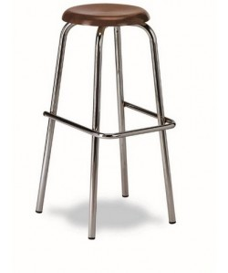 Taburete Rf. 3155165, cromado, asiento de madera barnizada
