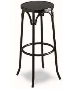 Taburete de hostelería, Rf. 3155015, armazón de tubo de acero, asiento madera barnizada