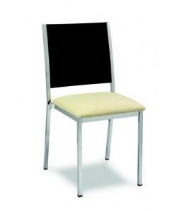Silla 3151385, asiento tapizado y respaldo de madera barnizada.
