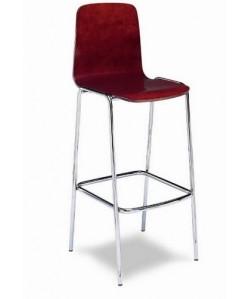 Taburete Rf. 3155405,  cromado, asiento y respaldo de madera barnizada