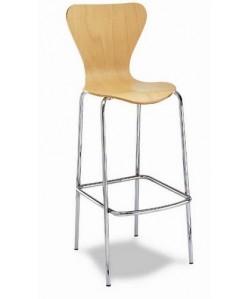 Taburete Rf. 3155415,  cromado, asiento y respaldo de madera barnizada