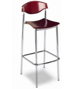 Taburete Rf. 3155455, cromado, asiento y respaldo  de madera barnizada