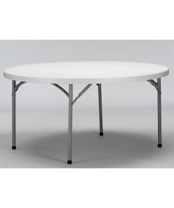 Mesa plegable Rf. 3153115, armazón acerado, tapa de polietileno, 160 cms diámetro