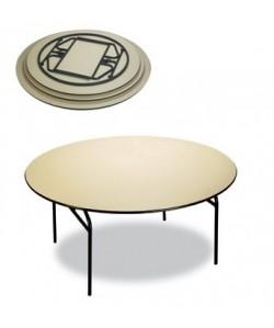 Mesa plegable Rf. 3153125, armazón acerado, tapa de melamina, 180 cms diámetro