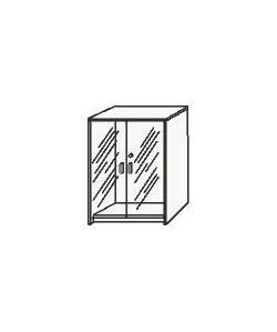 Armario medio de puertas cristal, 90x43x140 cms. Color a elegir.