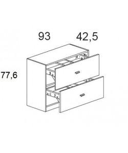 Armario bajo con 2 archivos, 93x42,5x77,6 cms. Color a elegir.