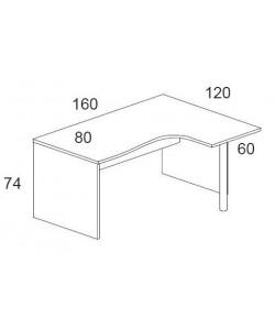 Mesa forma 160x120 cms. -dcha.- Color a elegir.