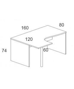 Mesa forma 160x120 cms, -izquierda-. Color a elegir.