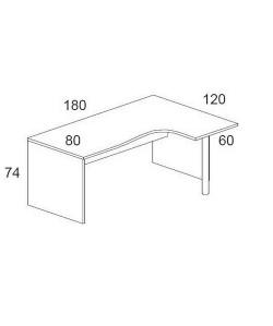 Mesa forma 180x120 cms, -derecha-. Color a elegir.