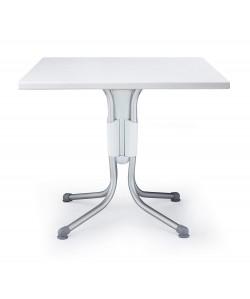 Mesa Polo, plegable, aluminio, polipropileno, tapa werzalit 70 cms. diámetro.