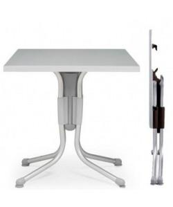 Mesa Polo, plegable, aluminio, polipropileno, tapa werzalit 70 x 70 cms.
