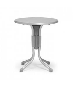 Mesa Polo, plegable, aluminio, polipropileno, tapa werzalit 60 cms. diámetro.