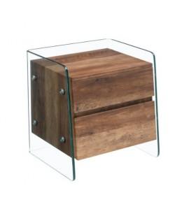 Mesa SEBAS, cristal curvado, dos cajones, 50 x 43 cms