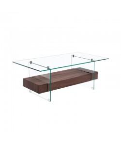 Mesa SUIZA, baja, madera, cristal, 110 x 60 cms