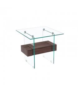 Mesa SUIZA, baja, madera, cristal, 55 x 55 cms