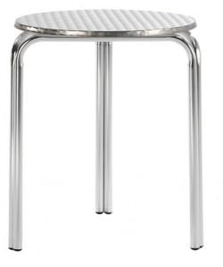 Mesa de aluminio, 28515365, doble tubo, tapa inox. 60 cms. diám.*