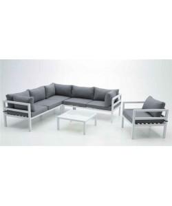 Modular CRETA, aluminio blanco, cojines gris oscuro.