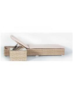 SET Tumbona y Mesa Mod. KAUAI, aluminio color natural, cojin color crudo*