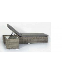 SET Tumbona y Mesa Mod. MAUI, aluminio color gris, cojin color antracita*