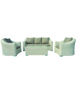 Set ALPE, aluminio y rattan color blanco.