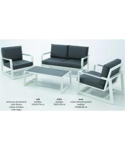 Set BORA, estructura aluminio blanco, cojines gris antracita*