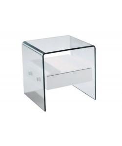 Mesa MBCOR-BL, cristal curvado, cajón blanco, 50x45 cms.* Pequeña imperfección