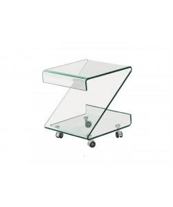 Mesa BETHANIA, ruedas, cristal transparente, 43 x 41 cms. Pequeña imperfección