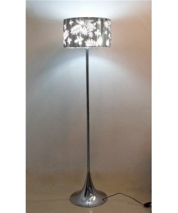 Lámpara LEAF, pié de salón, diseño, pantalla de acero inoxidable decorada. Pequeña imperfección