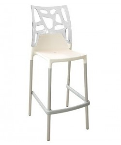 Taburete ROCK-BLTR, apilable, aluminio, blanco y transparente