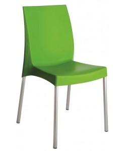 Silla SDFUJI-VE, aluminio, polipropileno verde*