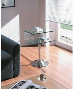 Mesa auxiliar RICHI, cromada, cristal curvado* Pequeña imperfección