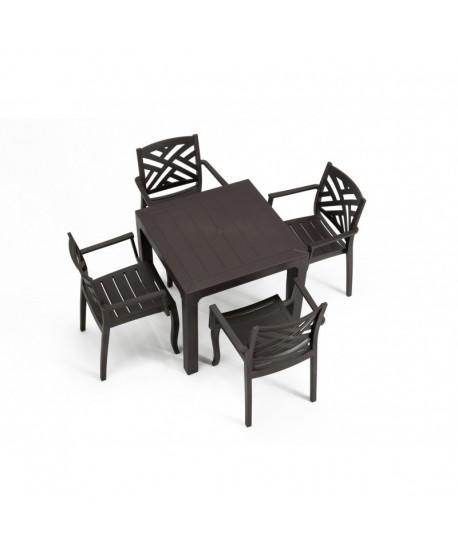 Pack JACARANDA, mesa + 4 sillones, polipropileno antracita.