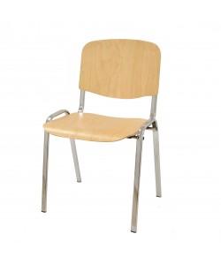 Silla NIZA NEW, chasis cromado, asiento y respaldo en madera natural