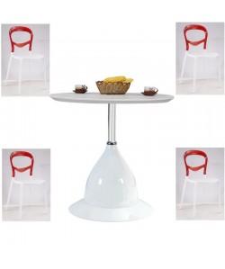 Pack FESTIVAL, mesa y 4 sillas de polipropileno blanco-rojo.