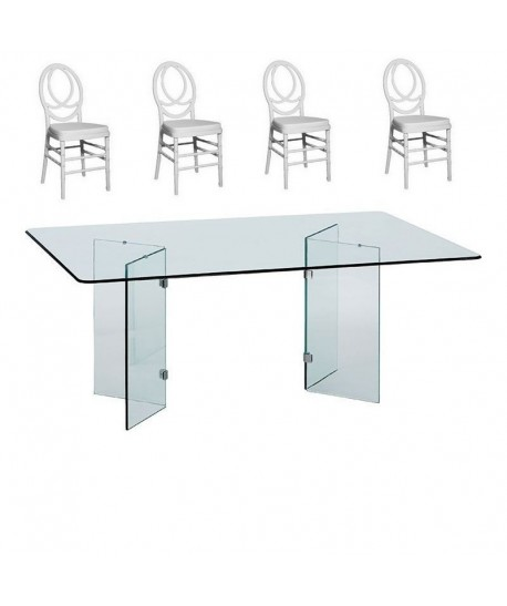 Pack FENIX, mesa cristal y 4 sillas de color blanco.