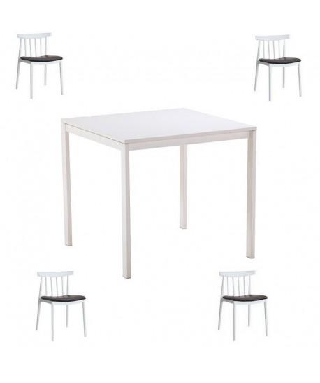 Pack ANTONY, mesa lacada y 4 sillas de color blanco, cojín negro.